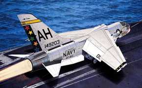 "Picture war, art, painting, jet, F-8E VF-162 ""The Hunters"""