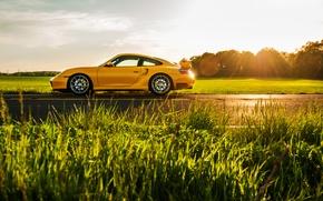 Picture yellow, 911, Porsche, sports car, side, Porsche, 996