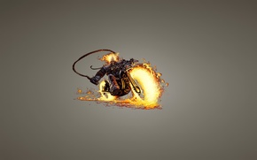 Picture fire, skull, minimalism, chain, skeleton, motorcycle, Ghost Rider, Ghost rider, bike