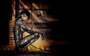 Picture girl, wire, cables, cyborg, metal, cyberpunk, cyberpunk, cyborg
