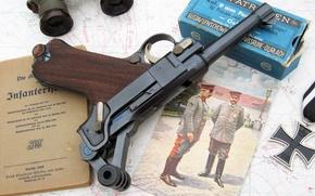 Picture photo, gun, box, map, cross, binoculars, iron, Parabellum, P08, Luger, Luger
