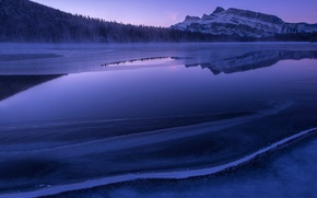 Picture forest, mountains, lake, morning, Ice, Blue Morning