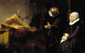 Picture portrait, picture, genre, Rembrandt van Rijn, Preacher Anslo and His Wife