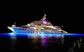 Picture sea, night, lights, the evening, yacht, night, yacht, yachts, mega, super yacht, superyacht, mega yacht, ...