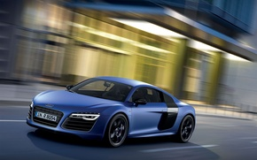 Picture Audi, Audi, Blue, The city, Machine, V10, The front, Plusx