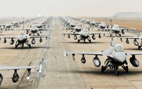 Picture The plane, Fighter, Weapons, USA, A lot, BBC, Multipurpose, Single, F 16, Runway, F 16A