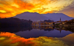 Picture the sky, sunset, mountains, the city, lake, reflection