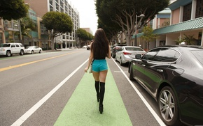 Picture road, girl, street, shorts, Zishy, Lana Rhoades, Goes, machine