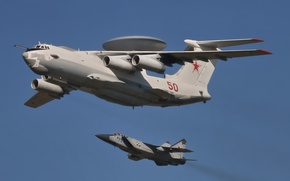 Picture flight, fighter, the plane, A-50, AWACS, double, interceptor, The MiG-31, far, detection, radar