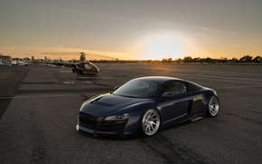 Picture audi, blue, airport, r8