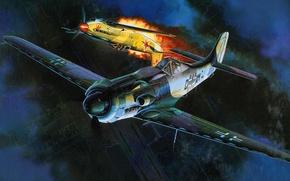 Picture figure, art, dogfight, Focke-Wulf, Focke-Wulf, German high-altitude interceptor during world war II, Ta 152