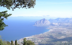 Picture sea, mountains, rocks, Italy, Sicily, Erice