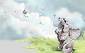 Wallpaper figure, elephant, Dandelions