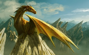 Picture clouds, mountains, rock, dragon, figure