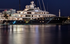 Picture night, the evening, yacht, port, yacht, harbor, home ., super yacht, mega yacht, super yacht, …