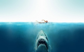 Picture sea, girl, shark, Jaw