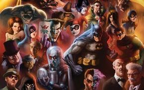 Picture art, Batman, characters, Cat woman, Penguin, DC Comics, Robin, Poison Ivy