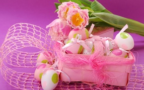 Picture pink, eggs, spring, Easter, tulips, flowers, spring, eggs, easter