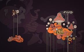 Wallpaper graphics, vector, fwa, mushrooms, the inscription