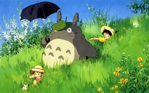 Picture summer, grass, children, hat, being, umbrella, walk, my neighbor Totoro, totoro, tonari no totoro, satsuki …