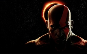 Picture hate, fire, flame, game, star, sky, god of war, kratos, ps3, eclipse, man, tatoo, eye, …