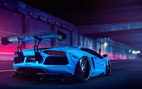 Picture Lamborghini, Blue, LP700-4, Aventador, Liberty Walk
