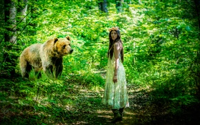 Picture forest, girl, bear