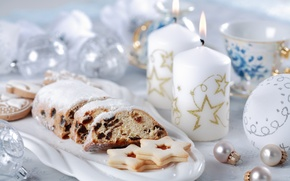 Picture balls, tea, candles, cookies, Christmas, New year