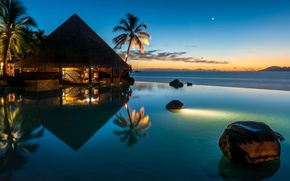 Picture the ocean, the evening, pool, Bungalow