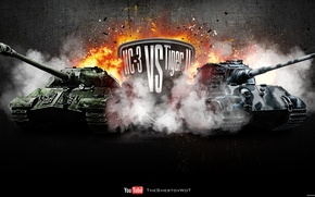 Picture fire, explosions, the opposition, Germany, tank, USSR, tanks, Germany, WoT, Tiger II, World of Tanks, ...
