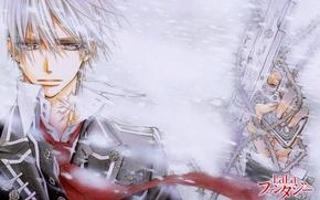 Picture snow, gun, spikes, white hair, art, vampire knight, matsuri hino, zero kiryu