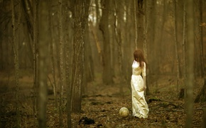 Wallpaper globe, girl, forest
