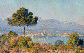 Wallpaper landscape, picture, Claude Monet, View of Antibes from the Plateau Notre-Dame