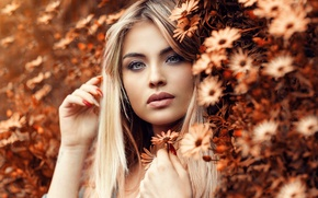 Picture girl, flowers, face, makeup, blonde, Alessandro Di Cicco
