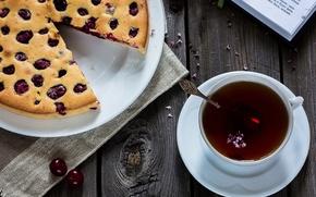 Picture cherry, tea, pie, book, cakes