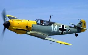 Picture flight, the plane, fighter, pilot, propeller, Me-109, Messerschmitt, BF-109