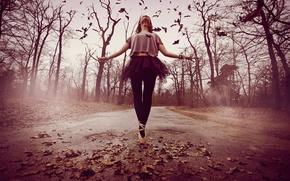 Wallpaper road, girl, mood, dance