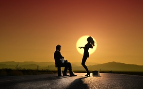 Picture girl, sunset, music, dance, guy, silhouettes