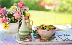 Wallpaper summer, flowers, table, food, vase, bowl, plug, napkin, tray, salad, spices