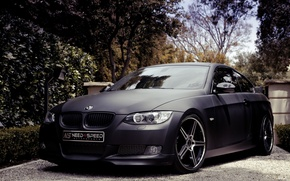 Picture trees, black, bmw, BMW, Matt, black, 335i, e92