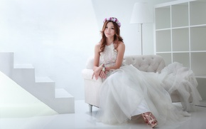 Picture look, pose, sofa, Girl, dress, Asian