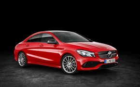 Wallpaper red, Mercedes-Benz, CLA-Class, background, C117, Mercedes, AMG