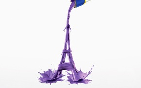 Picture squirt, creative, paint, Eiffel tower, Bank