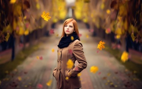 Picture autumn, leaves, the beauty, redhead, Melis