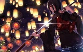 Picture girl, sword, lights, kimono, anime, art