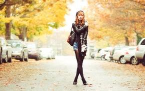 Picture road, autumn, model, red, Hattie Watson