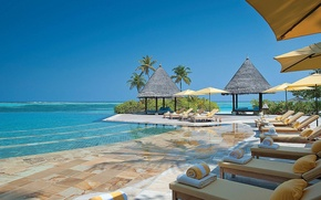 Picture palm trees, the ocean, pool, the hotel, Maldives, resort
