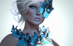 Picture girl, butterfly, background