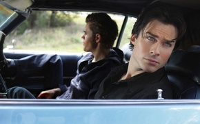 Picture the series, the vampire diaries, Damon, Stefan, in the car