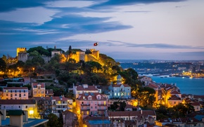 Wallpaper the sky, clouds, the city, lights, castle, coast, the evening, lighting, fortress, Portugal, architecture, capital, ...